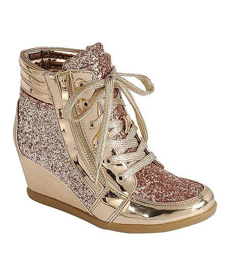 Rose Gold Peggy Wedge Sneaker | Zuli