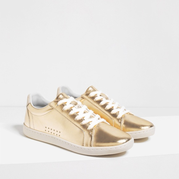 Zara Shoes | Gold Sneaker Laminated Pimsoll | Poshma