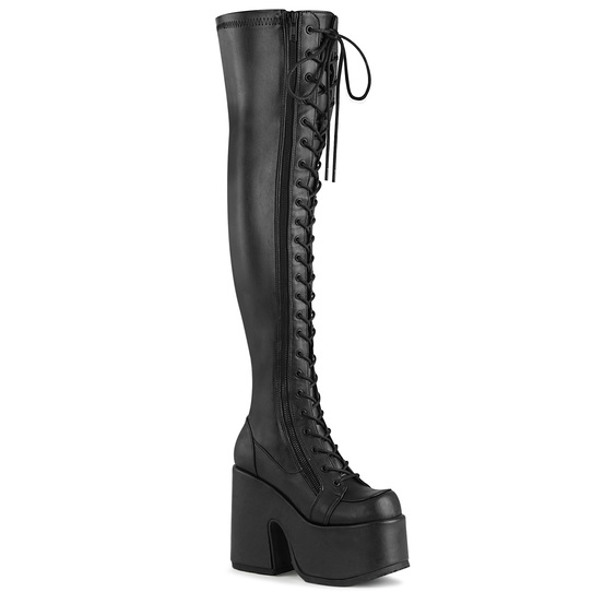 Thigh Hi vegan leather combat boots with chunky platform he
