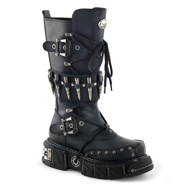 Demonia DMA-3002 Black Bullet Strap Men's Gothic Boots - Demonia .