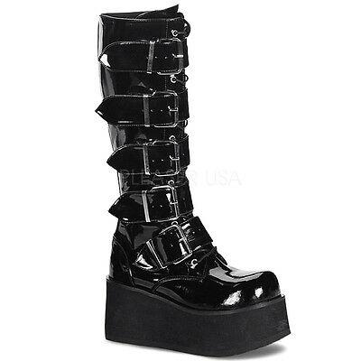 DEMONIA TRA518/B Men's Gothic Punk Black Platform Knee High Buckle .