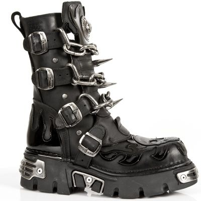 New Rock Boots - 727 - Black Boot w/ Skull & Chains & Spikes [M727 .