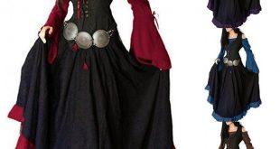 Retro Women Fashion Long Sleeve Off Shoulder Medieval Renaissance .