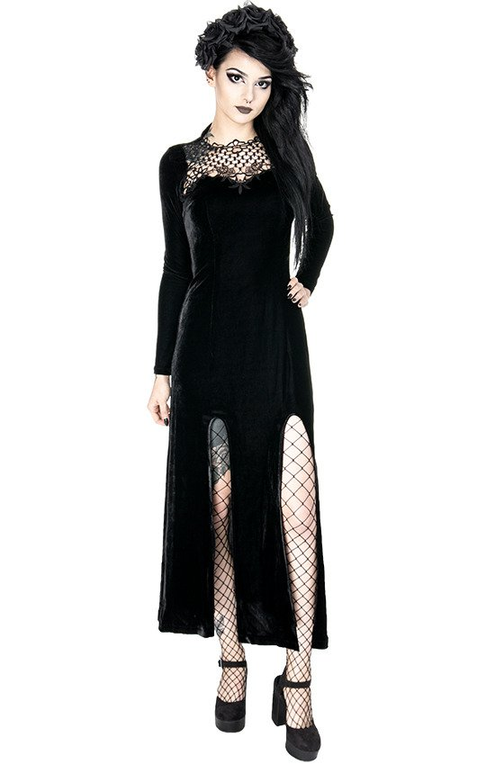 BLACK WIDOW DRESS Long gothic gown with guipure - Resty