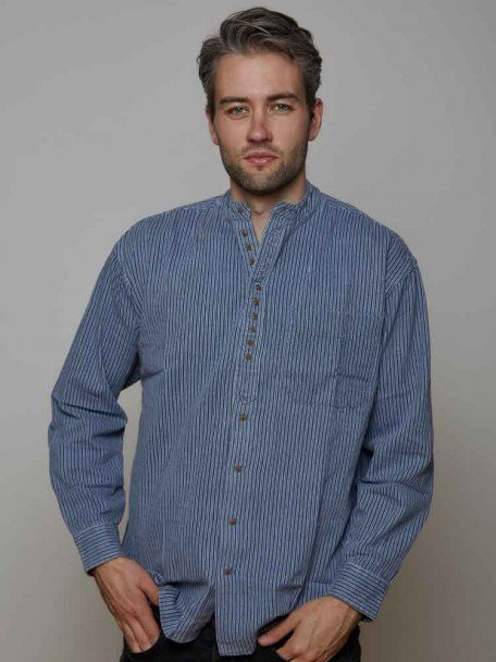 Blue Striped Grandfather Shirt | The Sweater Shop, Irela