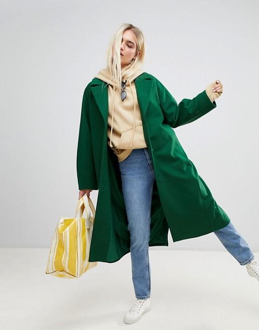 Weekday wool coat in bottle green | AS