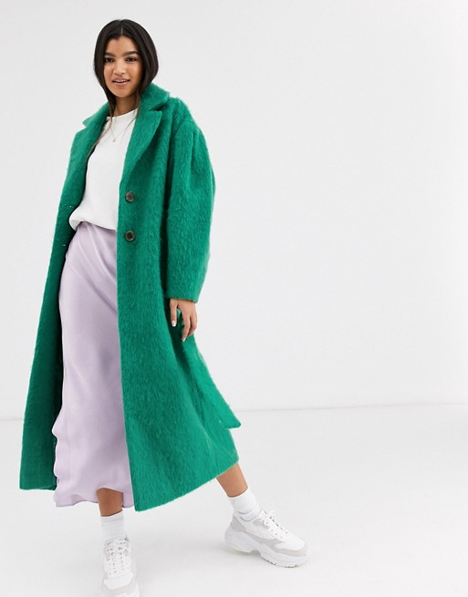 ASOS DESIGN power sleeve coat in green | AS