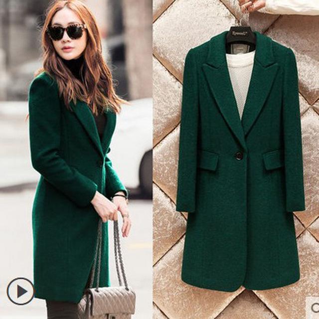 Autumn Winter Fashion Turn down Collar Dark Green Coat Women's .