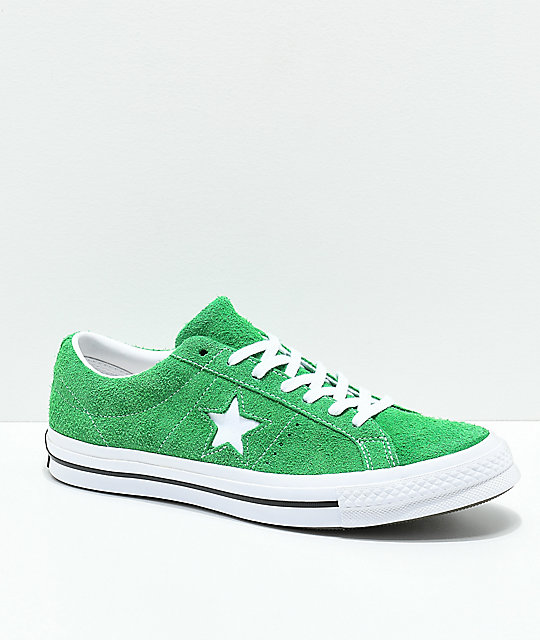 Converse One Star Green, White & Black Suede Skate Shoes | Zumi