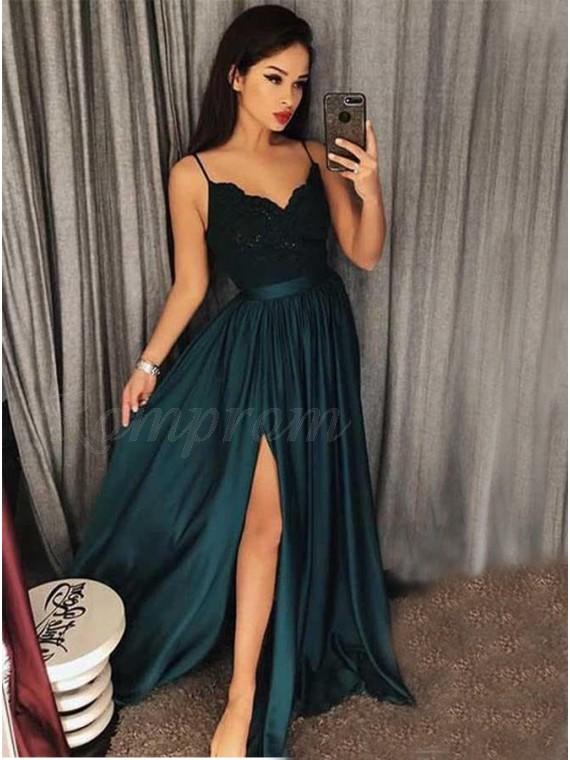A-Line Spaghetti Straps Dark Green Prom Dress with Appliques Split .