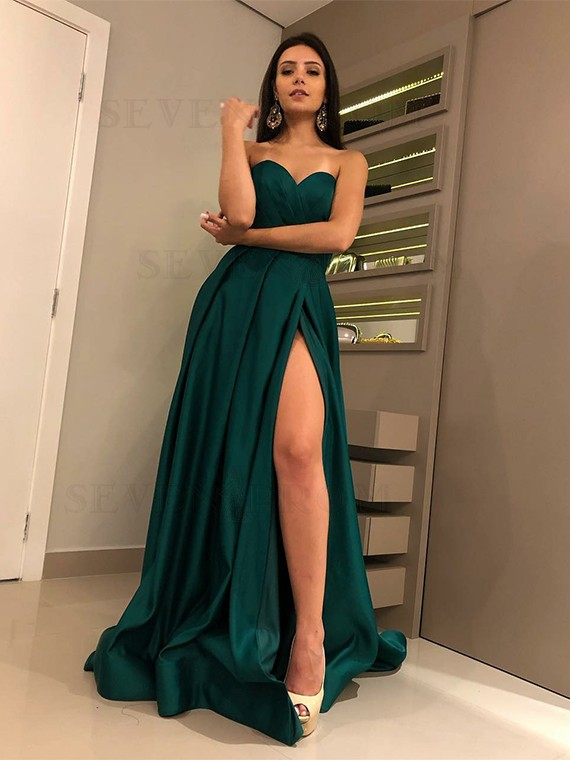 Buy Charming Sweetheart Dark Green Prom Dress with Split Satin .