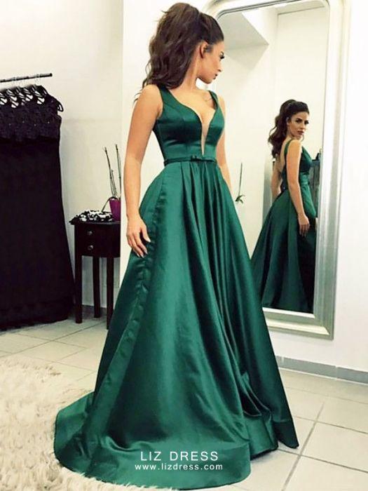 Dark Green V-neck Satin Celebrity Formal Prom Dre