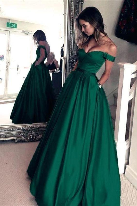 Pretty Off The Shoulder Zipper Back Long Green Prom Dress With .