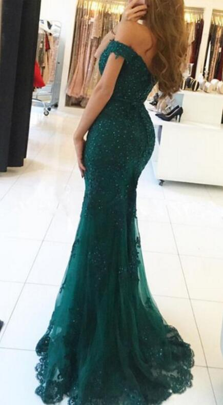 Off The Shoulder Evening Gowns,long Prom Dress,dark Green Prom .