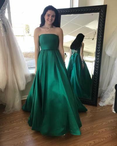 Pd90120 Green Prom Dress,Satin Evening Dresses,A-Line Prom Dresses .