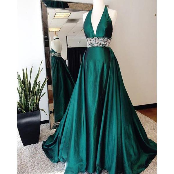 Teal green prom dress, halter prom dress, v neck prom dress, long .