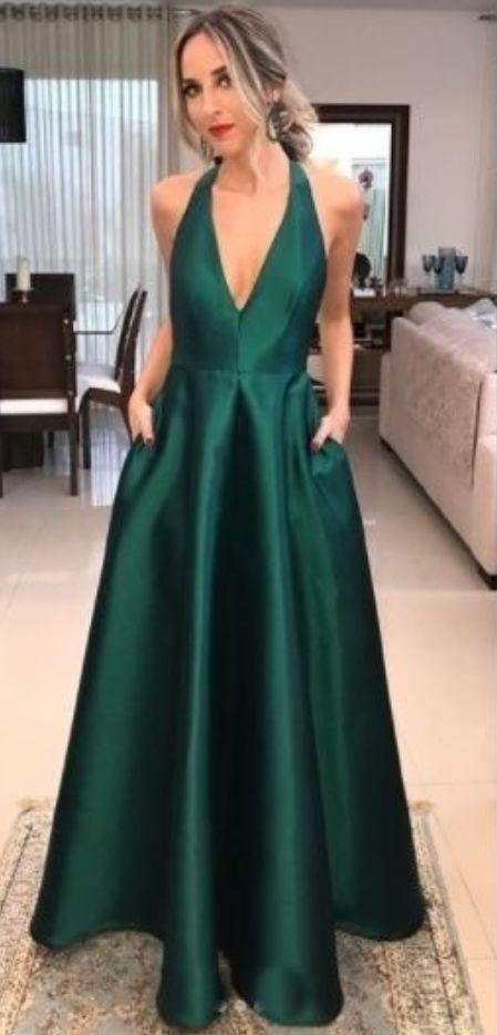 V Neck party dress,Emerald Green Prom Dress, deep v neck party .