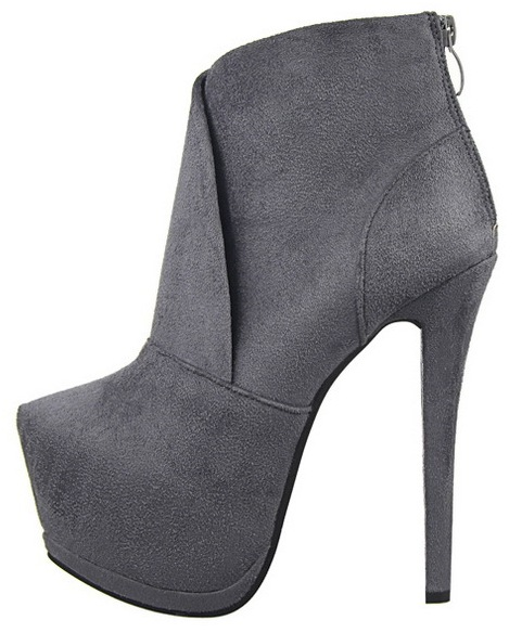 Grey Suede Platforms Stiletto High Heels Ankle Boots Sho