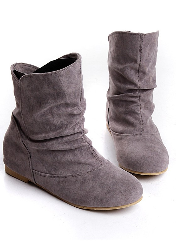 Grey Round Toe Flat Faux Fur Patchwork Casual Ankle Boots - Boots .