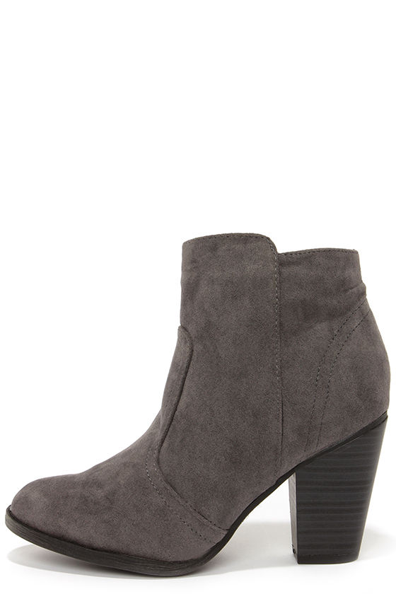 Cute Grey Boots - Suede Boots - Ankle Boots - Booties - $34.