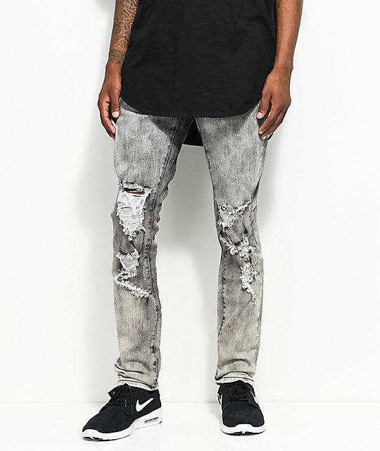 Crysp Denim Joyner Distressed Washed Grey Jeans   Zumi