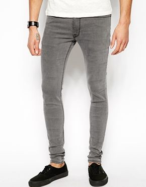 Image 1 of ASOS Extreme Super Skinny Jeans In Light Grey   Grey .