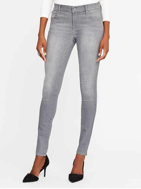 Mid-Rise Built-In-Sculpt Gray Rockstar Jeans for Women   Old Na