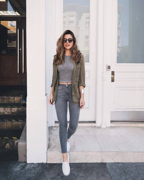 top, grey top, white shoes, crop tops, denim, jeans, grey jeans .