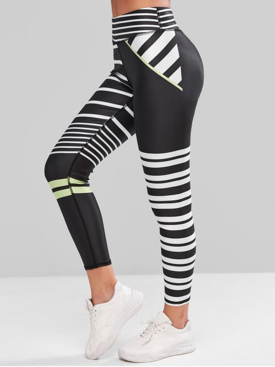 45% OFF] 2020 High Waisted Striped Skinny Gym Leggings In BLACK .