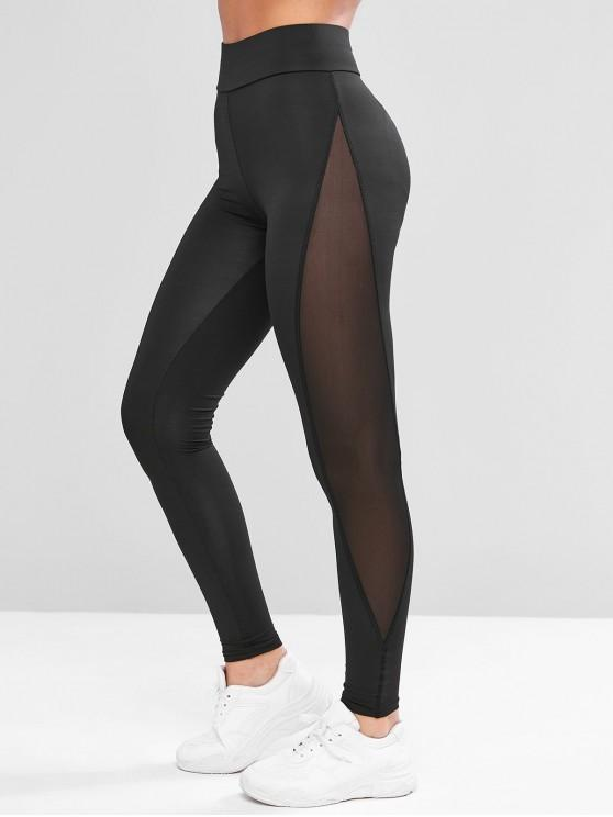 49% OFF] 2019 Mesh Panel See Thru Stretchy Gym Leggings In BLACK .