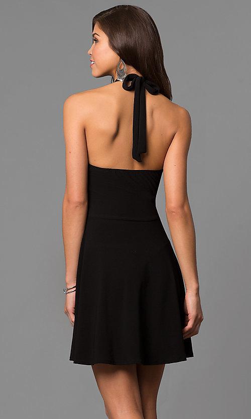 A-Line Black Halter Short Party Dress - PromGi