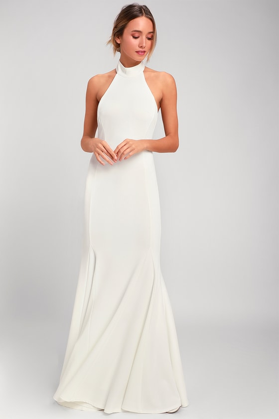 Elegant White Dress - Halter Dress - Maxi Dress - Go