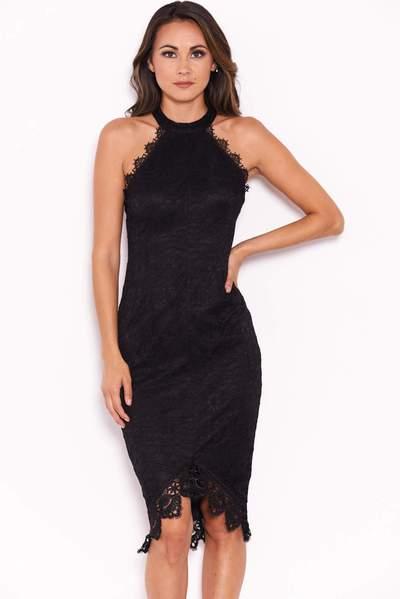 Black Halter Neck Midi Dress – AX Par