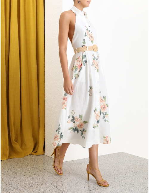 Kirra Halterneck Long Dress Ivory Magnolia Online   Zimmerma