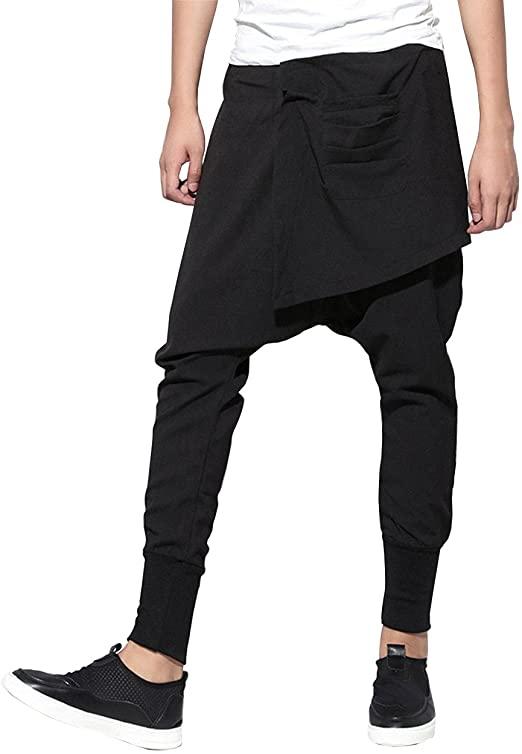 ELLAZHU Men Casual Elastic Waist Black Harem Pants Joggers .