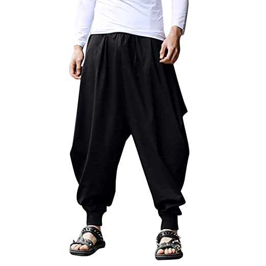 Nevera Men Harem Pants, Cotton Linen Baggy Solid Trousers Loose .