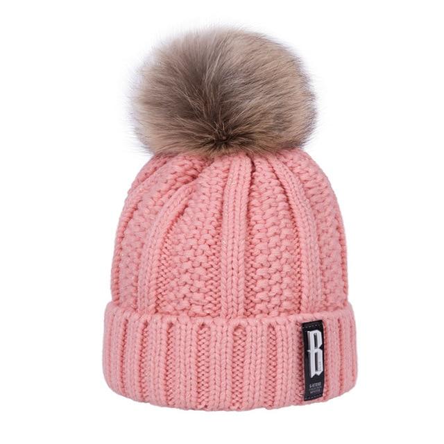 2018 New Pom Poms Women's Winter Hat Fashion Solid Plus Fleece.