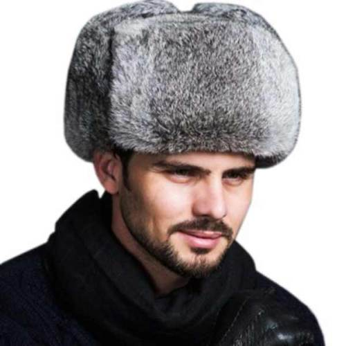 High Quality Mens 100% Real Rabbit Fur Winter Hats Warm Snow Caps .