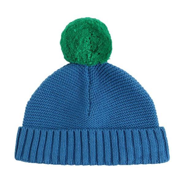 Kids Stella McCartney Baby Winter Hat With Green Pompom - Blue .