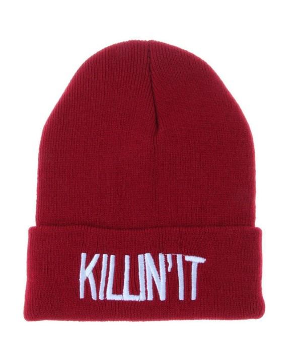 Unisex Women Men Hat Warm Winter Knit Cap Hip-hop Beanie Hats Wine .