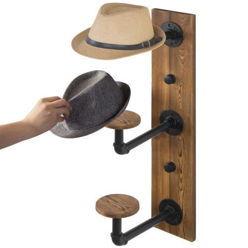 Metal Pipe & Rustic Burnt Wood Hat Rack, 3-Hook – MyGift .