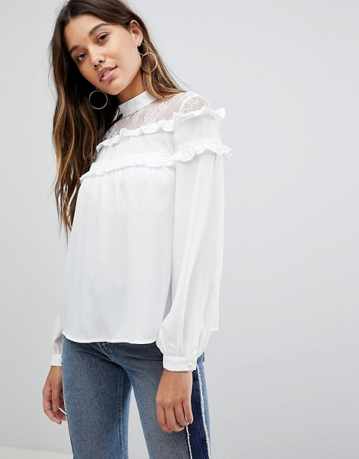 Fashion Union High Neck Blouse With High Neck And Ruffle Detail   AS
