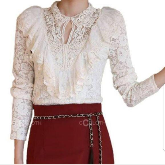 Zara Tops   Victorian Lace Floral Ruffled High Neck Blouse   Poshma
