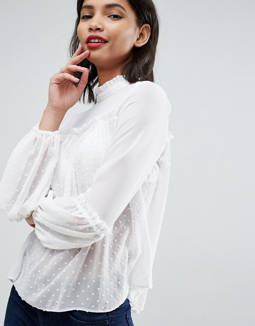 ASOS High Neck Smock Blouse in Dobby Mix   AS