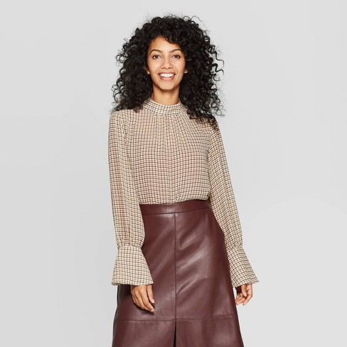 Women's Plaid Long Sleeve High Neck Blouse - A New Day™ Tan XL .