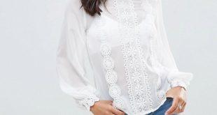 ASOS High Neck Blouse with Lace Trims | AS