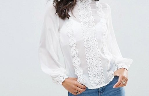 ASOS High Neck Blouse with Lace Trims   AS