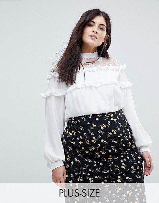 Fashion Union Plus High Neck Blouse With High Neck And Ruffle .