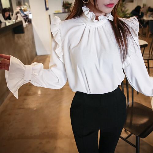 Frill Trim High Neck Blouse   DABAGIRL, Your Style Maker   Korean .