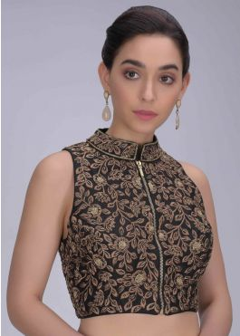 Buy Black High Neck Blouse In Raw Silk With Embroidered Floral .